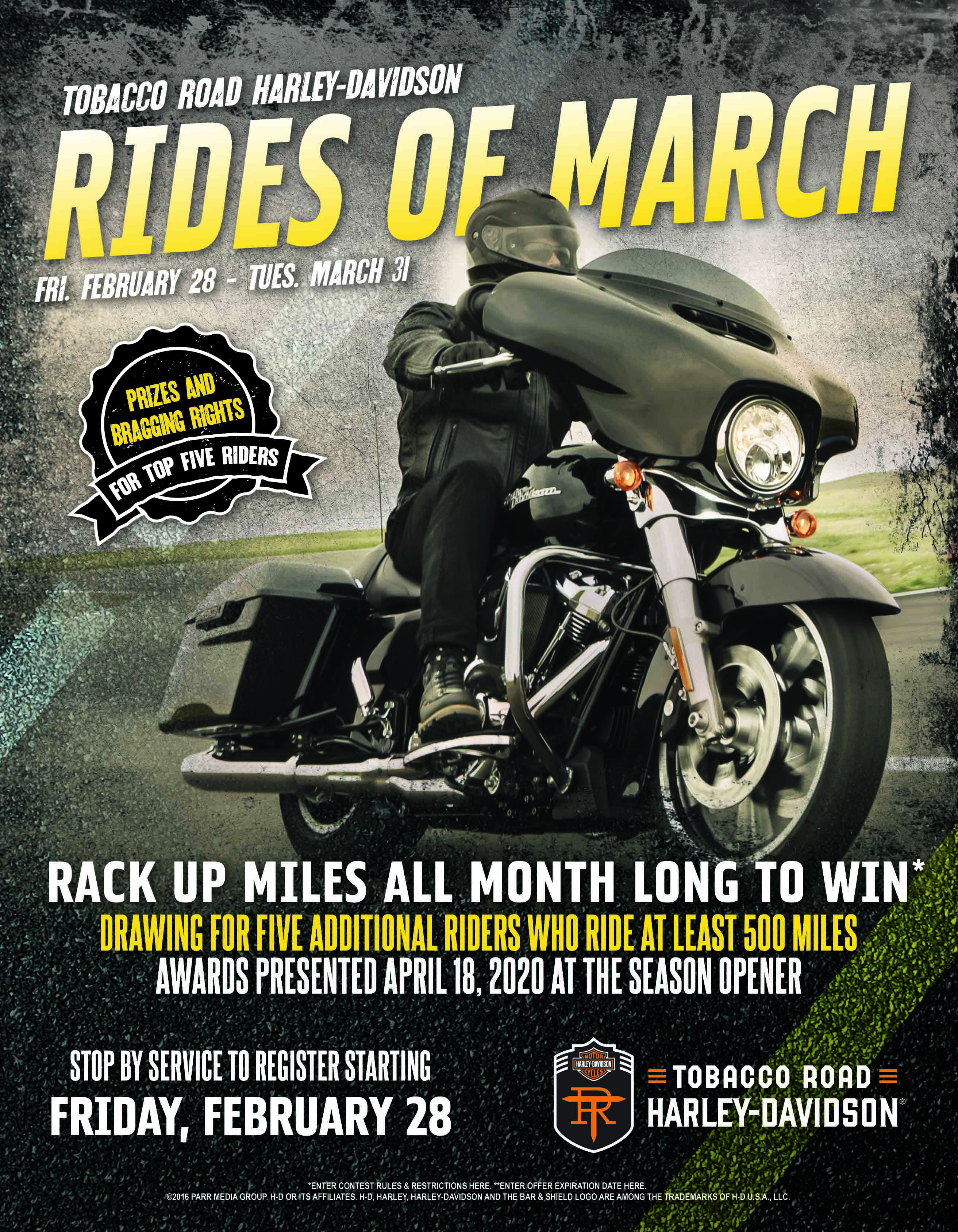 Rides of March Miles riding Harley-Davidson Motorcycles