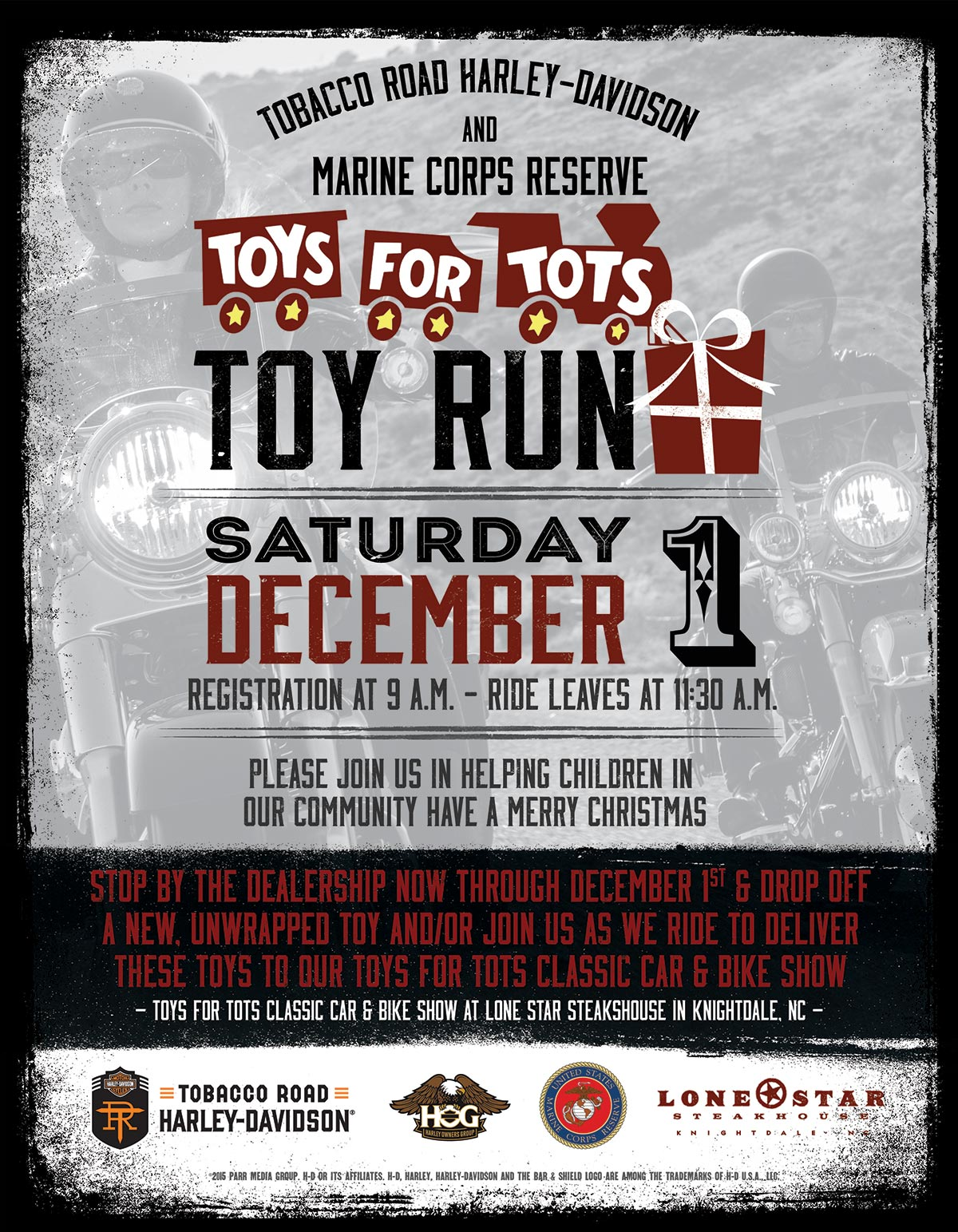 Toys For Tots Flyers 2012 : Toys for tots ride tobacco road harley davidson events