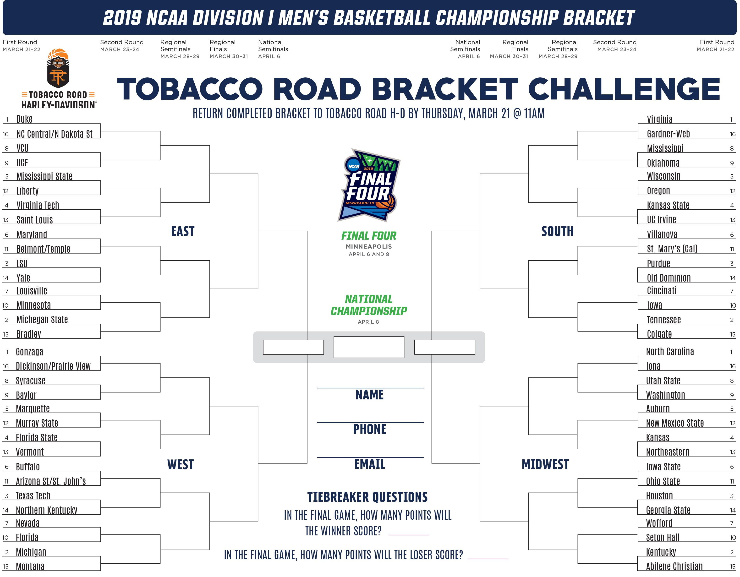 Tobacco Road Bracket Challenge Tobacco Road Harley Davidson Events